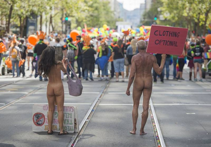 Nudists in San Francisco, California.