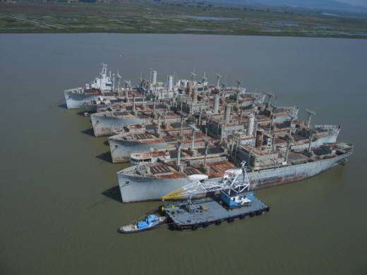 Aerial views of the Suisun Bay Reserve Fleet in 2005, when there were more than 70 ships anchored there, including the legendary WWII battleship Iowa, now a floating museum in Los Angeles.