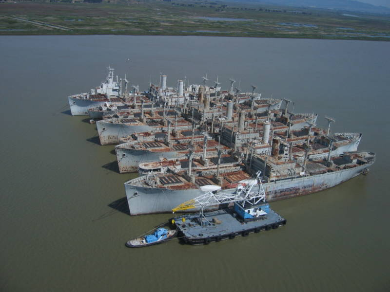 "A 2009 study found that 20 tons of contaminants had drained or sloughed off of vessels in the ""mothball fleet"" anchored in Suisun Bay. Measures have since been put in place to protect the bay."