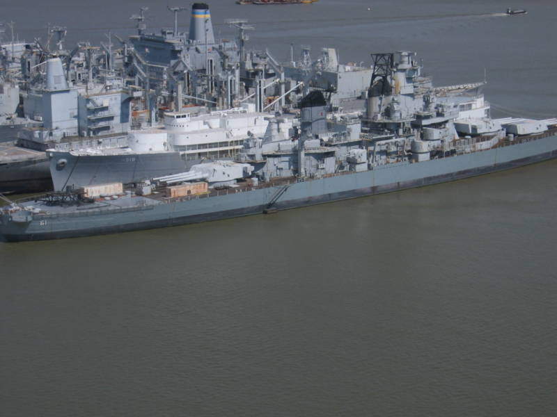 The Suisun Bay Reserve Fleet in 2005, when there were more than 70 ships anchored there, including the legendary WWII battleship Iowa (foreground), now a floating museum in San Pedro.