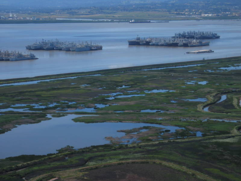 This 2005 photo shows the proximity of the reserve fleet to environmentally-sensitive Suisun Marsh.