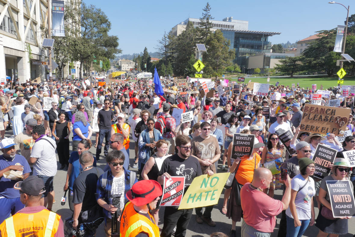 'No Hate, No Fear': Large Protests in Berkeley Against Far-Right Rally