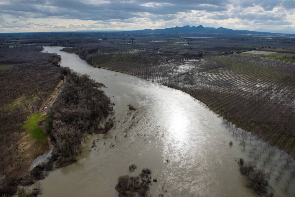 An aerial view looking of the Feather River downstream from Oroville the day before the Department of Water Resources dramatically reduced flows in late February.