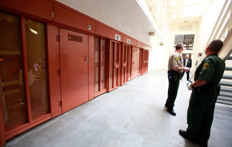 Guards outside the solitary confinement facilities, known as the Security Housing Unit, at Pelican Bay State Prison.
