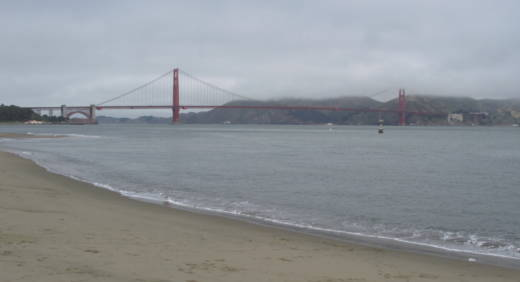 The Golden Gate Bridge is visible from Crissy Field on May 22, 2014. Crissy Field is the site for a planned far-right rally on Saturday, as well as several counter-demonstrations.