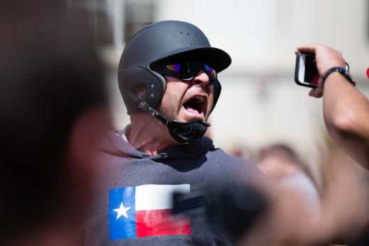 Kyle Chapman at a protest in Berkeley on April 15, 2017.