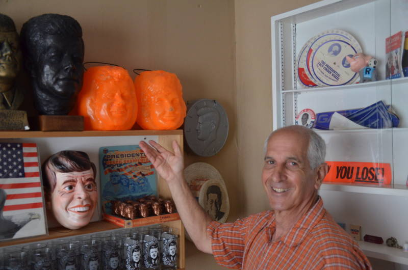 Alan Rosenzweig poses with one of his favorite pieces of John F. Kennedy memorabilia: Jack and Jackie O' Lanterns.