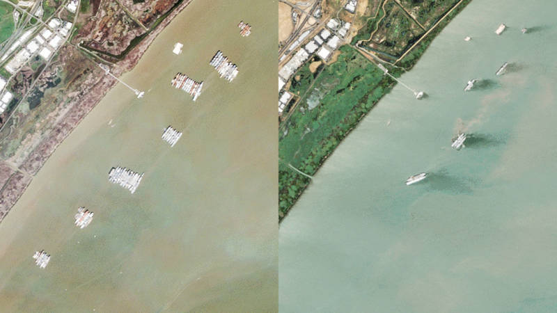 A satellite view of the fleet in 2009 (left) and 2017.