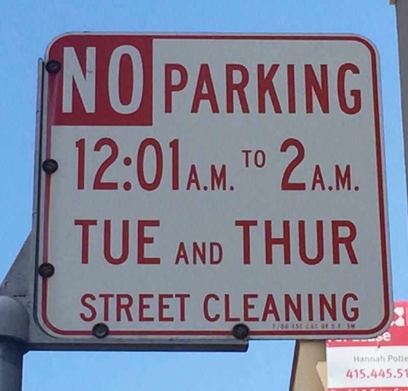 A street cleaning sign in San Francisco.