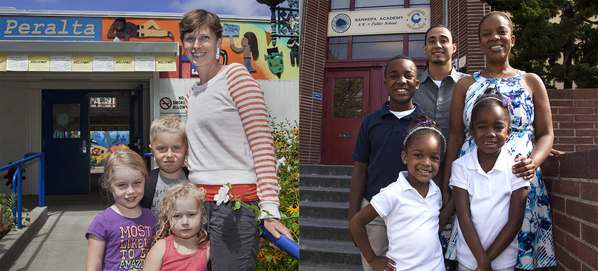 Left photo: Eleanor Wohlfeiler poses for a photo with her three children in front of Peralta Elementary School in Oakland. Right photo: Kristin Smith and her family outside Sankofa Academy in Oakland. Brittany Hosea-Small