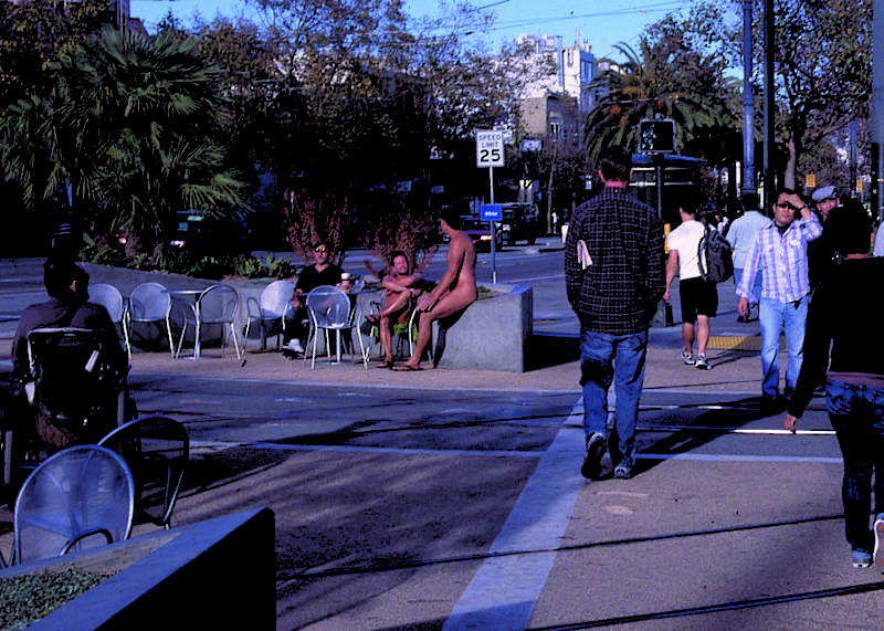 Jane Warner Plaza in The Castro became a popular spot for nudists.