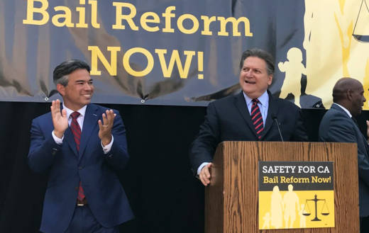 Assemblyman Rob Bonta (L) and Sen. Bob Hertzberg addressed supporters of bail reform at an Aug. 23, 2017, Capitol rally.