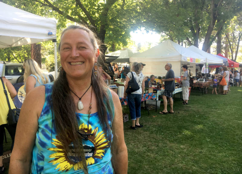 Sue Corrigan manages the farmers market in Weaverville, where only one Trinity County man is among the farmers selling produce and prepared foods.