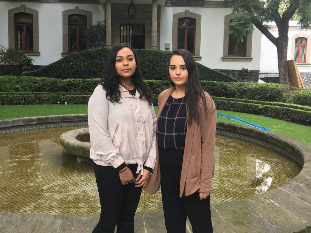 Gemma Urena (left) and Jennifer Zepeda (right) are exchange students from the University of California, Santa Cruz, studying in Mexico City. They are raising money to help earthquake victims. KQED/Emily Green.