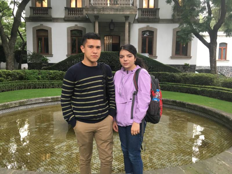 Jason Barajas and Brieanna Martin are University of California exchange students studying in Mexico City. KQED/Emily Green
