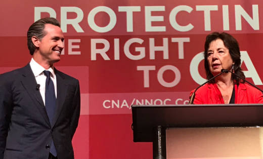 Lt. Governor Gavin Newsom speaks to the California Nurses Association conference in San Francisco.