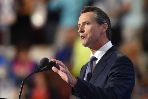 California Lt. Governor Gavin Newsom speaks during Day Three of the Democratic National Convention at the Wells Fargo Center in Philadelphia on July 27, 2016.