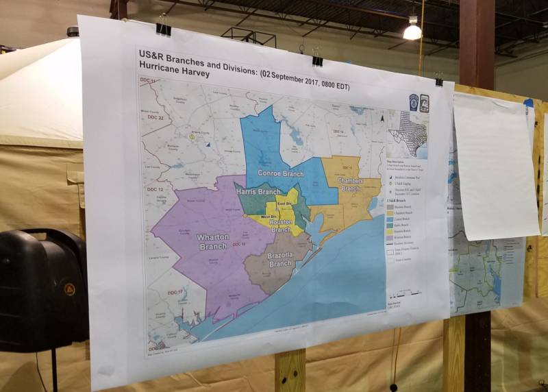 A map at the FEMA command post in College Station, Texas, shows the operational area affected by Hurricane Harvey.