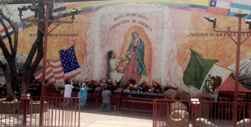 The immense Our Lady of Guadalupe mural at L.A.'s historic Our Lady Queen of Angels church.