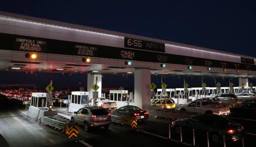 Traffic backs up at the Bay Bridge toll plaza.