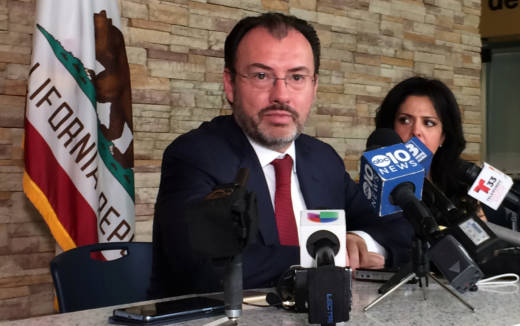 Mexico's Secretary of Foreign Affairs Luis Videgaray addresses reporters after meeting with Gov. Jerry Brown and other legislative leaders in Sacramento on Monday.
