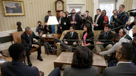 President Obama in a 2015 meeting with a group of 'DREAMers,' who received protection from Deferred Action for Childhood Arrivals. Obama reacted strongly to President Trump's reversal of the policy.