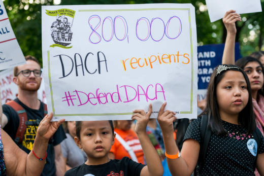Activists marched to Trump Tower in New York in anticipation of President Donald Trump's elimination of the DACA program.