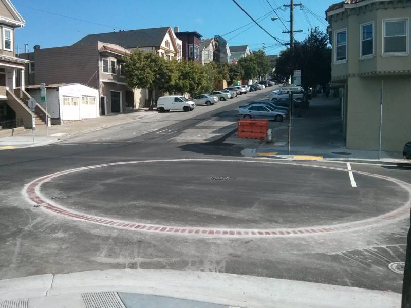 A brick circle marks an underground cistern in Potrero Hill.