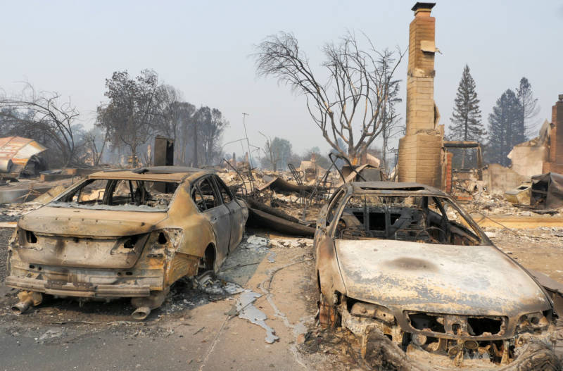 Burned cars in the devastated Coffey Park subdivision in Santa Rosa.
