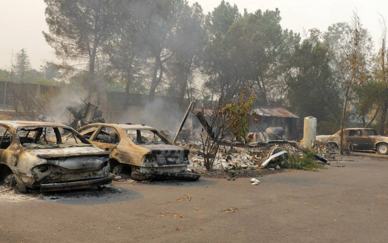 A row of burned cars off Atlas Peak Road in Napa.