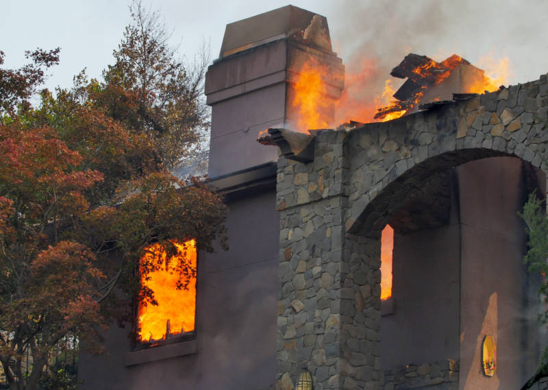A home burns in the Silverado Crest residential community in Napa on Monday, Oct. 9, 2017.