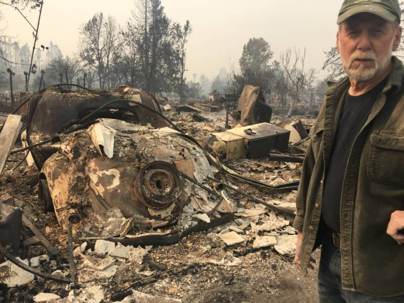 Don Millerick, 71, stands in front of the remains of his home near Coffey Park in Santa Rosa, California.