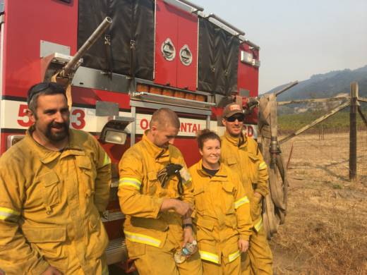 Steve Balich, Rhylind Mcauliffe, Rachel Lundardi, and Kyle Calvi are all volunteer firefighters from Occidental in West Sonoma County.