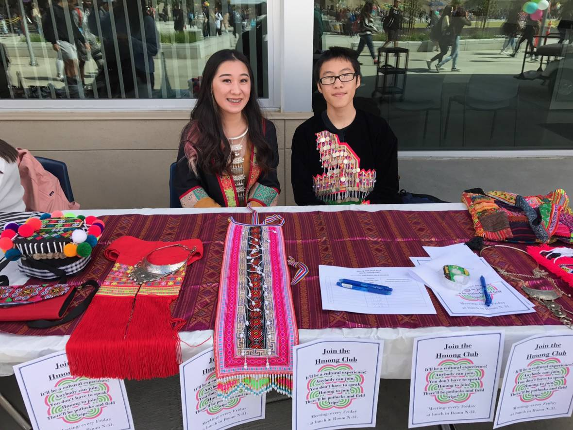 Sarah Vang (left) representing the Hmong Club during her school's club day. Courtesy Sarah Vang