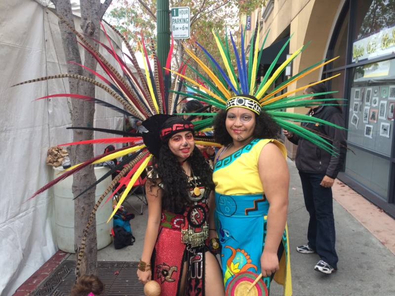 Whisper Torres, 17, and Leilani Holley, 13, came to the festival to perform as part of the dance group Lak'Ech.