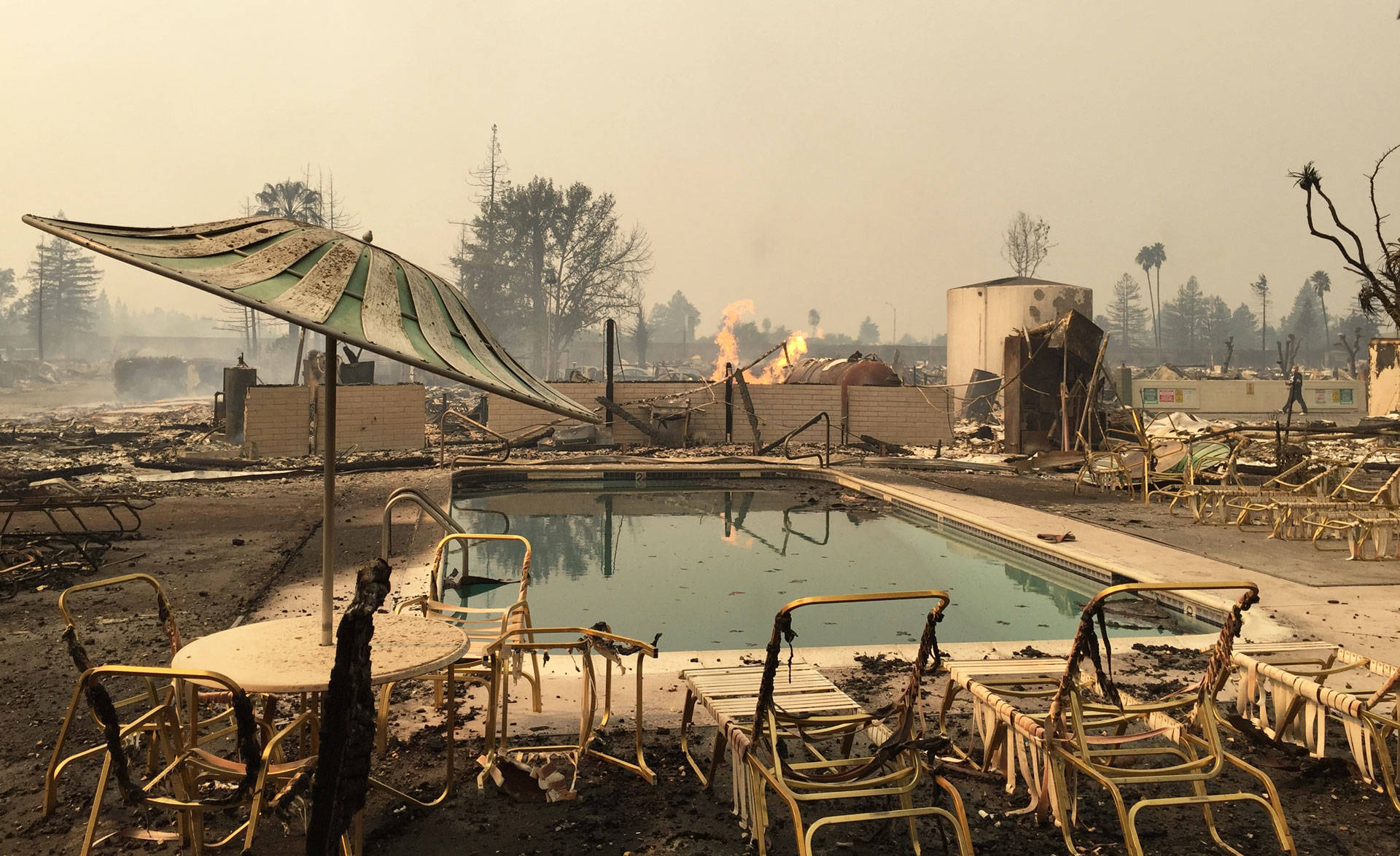 The pool at Journey's End Mobile Home Park in Santa Rosa, which has been completely destroyed. Jeremy Siegel/KQED