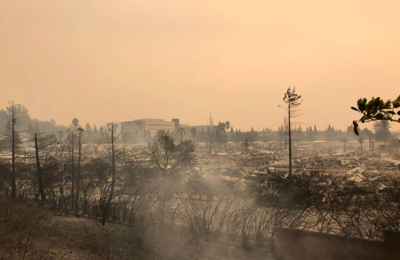 A wide-angle view of the Journey's End Mobile Home Park in Santa Rosa, which was decimated by fast-moving wildfire.