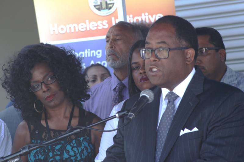 L.A. County Supervisor Mark Ridley Thomas at a recent in event in South L.A. trumpeting an increased outreach effort to bring the homeless off the street.
