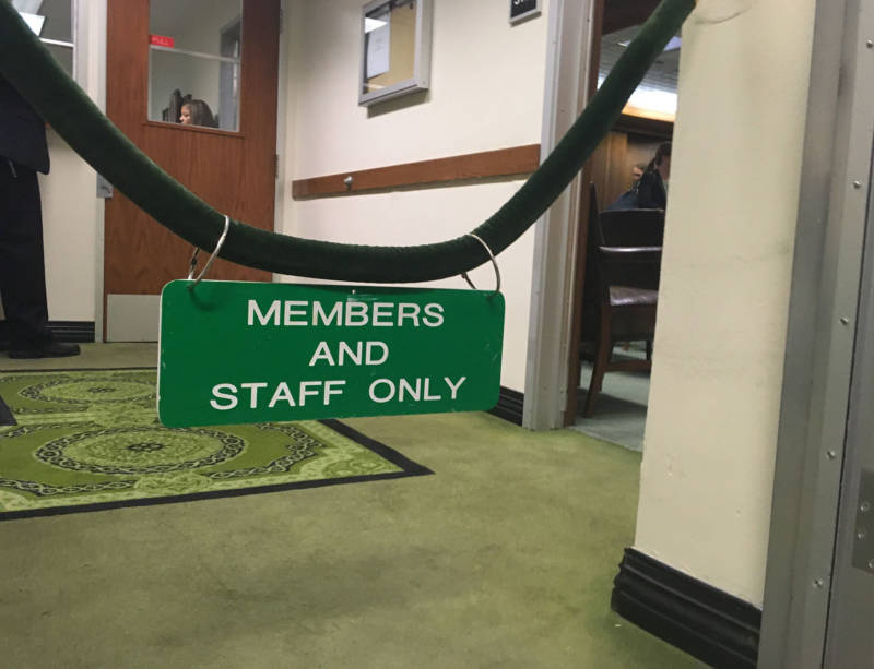 Oil lobbyist Henry Perea walked right past this sign outside California's Assembly chambers.