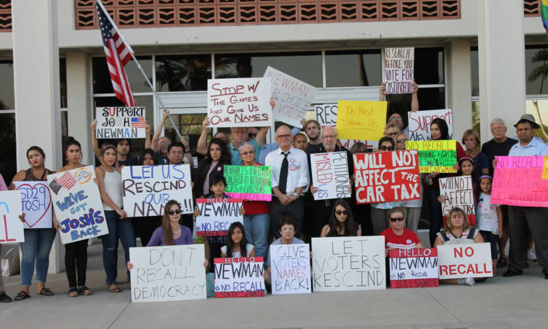 Activists gathered in Fullerton this week to defend their State Sen. Josh Newman from a recall drive over his vote for a gas tax increase.
