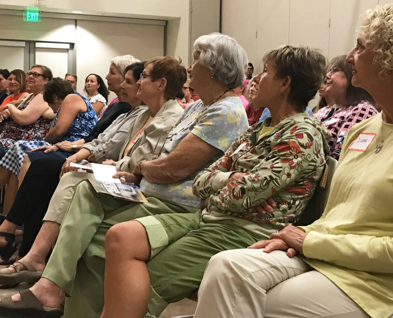 About 60 activists turned out for a Wednesday night meeting of Indivisible in Orange County.