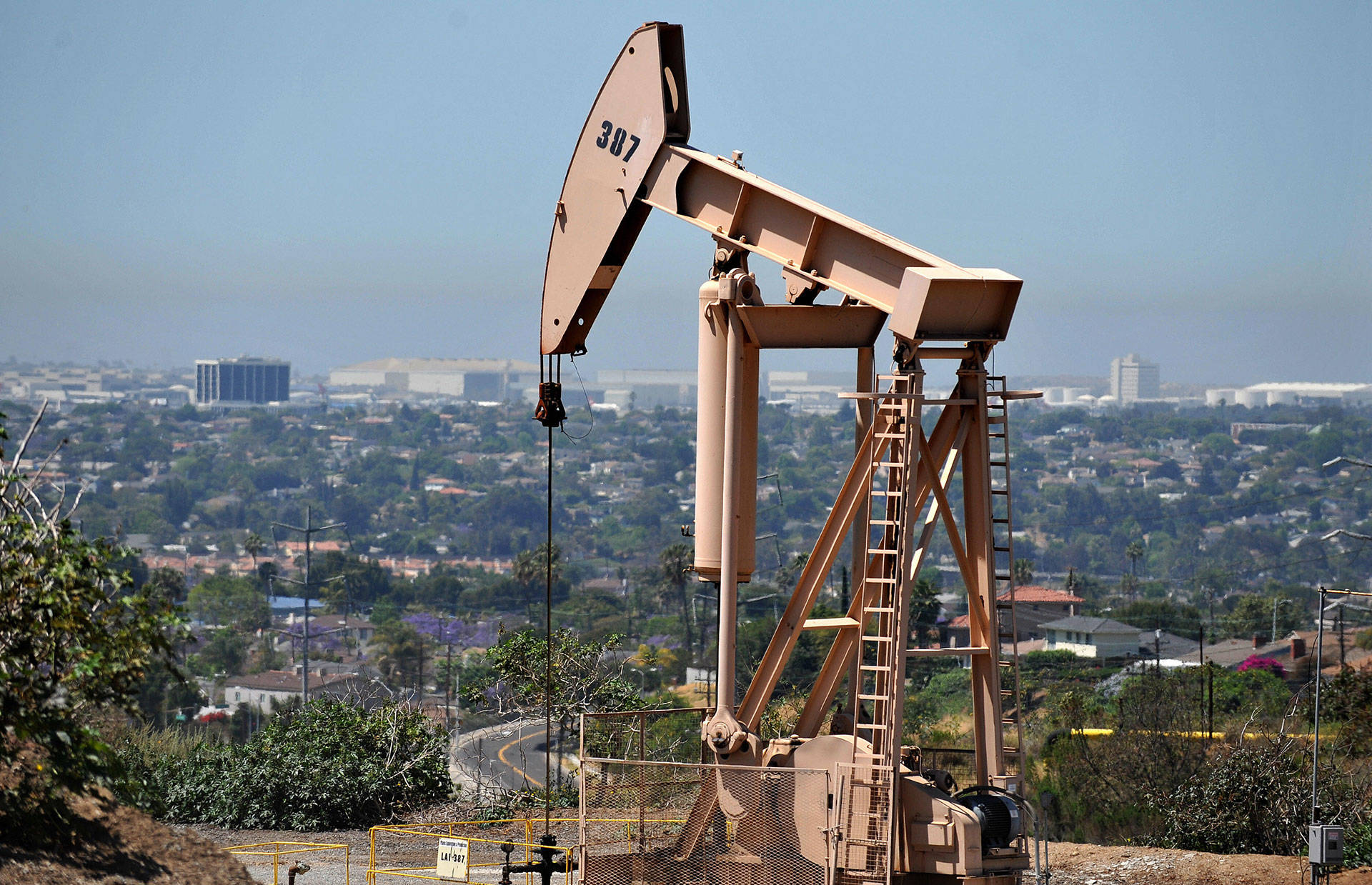 An oil rig operates in Culver City. GABRIEL BOUYS/AFP/Getty Images