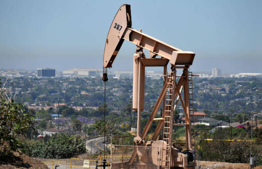 An oil rig operates in Culver City.