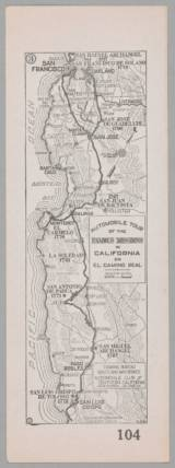 This 1915 map from the Automobile Club of Southern California is one of three maps designed to show Spanish-era missions laid out as an appealing road trip, each a day's journey from each other.