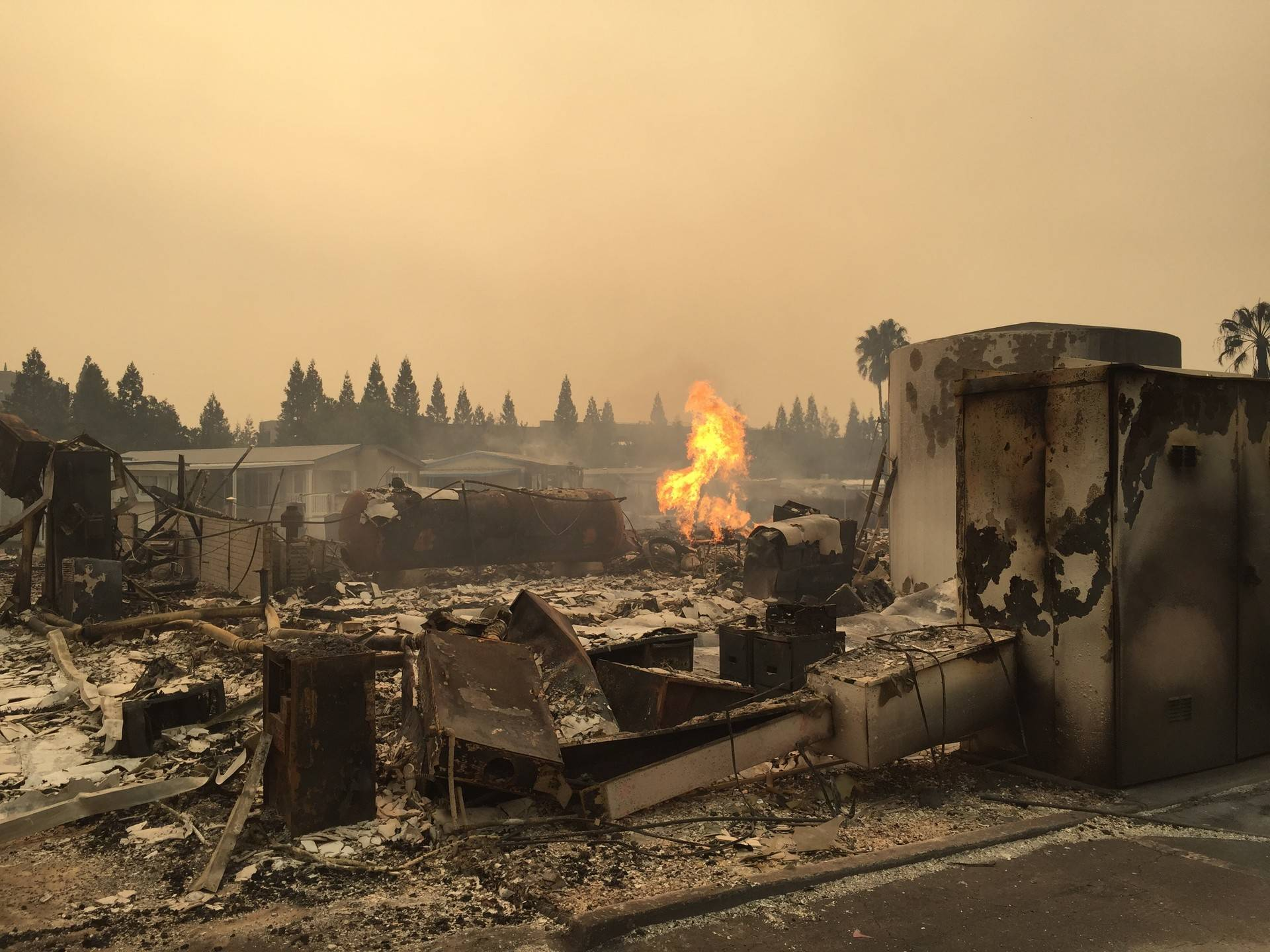 Approximately 90 percent of homes were destroyed at Journey's End Mobile Home Park in Santa Rosa. Photo taken Oct. 9, 2017. Jeremy Siegel/KQED