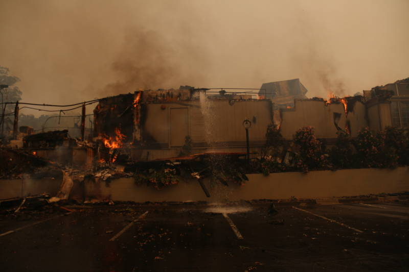 The smoldering remains of the Hilton Hotel in Santa Rosa.