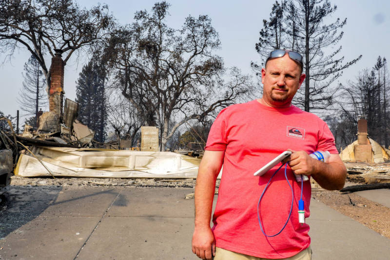 43-year-old Santa Rosa native Richard Kevin Weeks stands in his driveway after the Tubbs fire burned down his home.