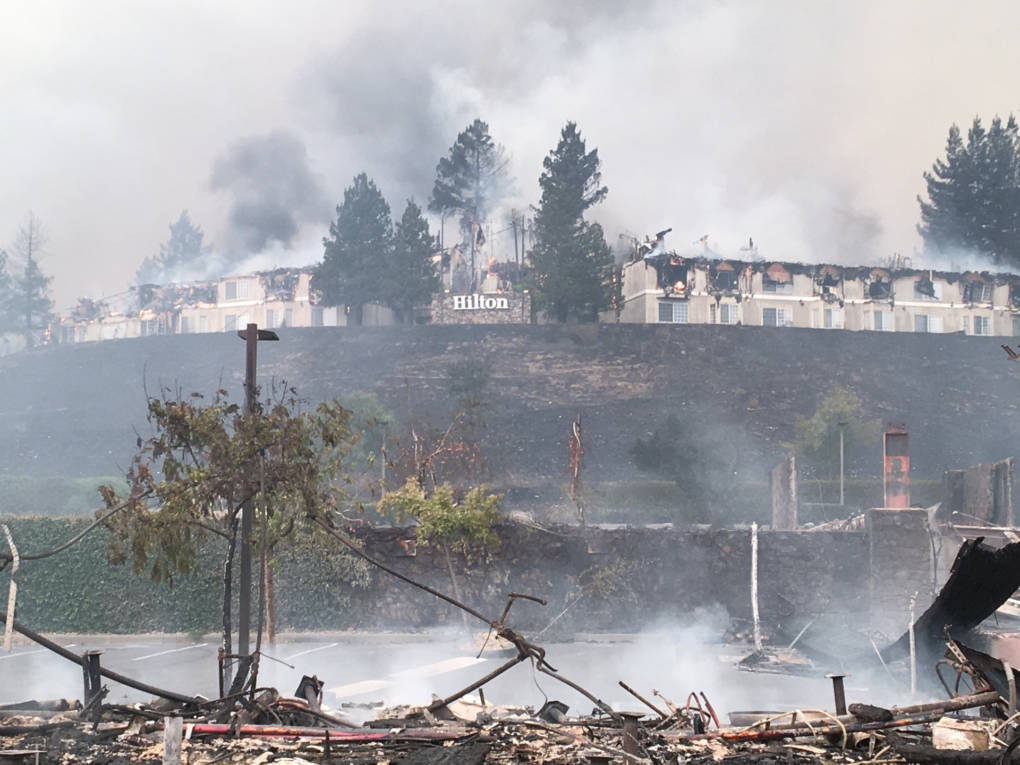 The Hilton in Santa Rosa was already burning when doctors told Heather Leiker and Jason McDowell that they should evacuate even though Leiker's labor had been induced earlier that night.