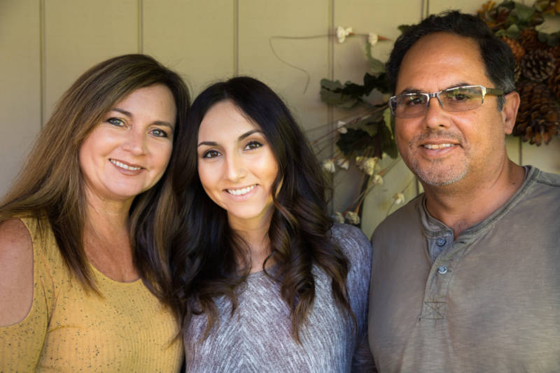 Donny Riveras' mother Kelli, sister Jessica and father at their home in Santa Rosa, CA on October 22, 2017.