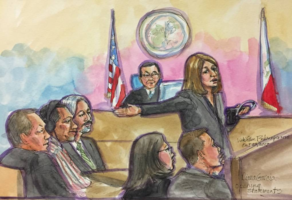 A courtroom painting of prosecutor Diana Garcia's opening statement in the Kathryn Steinle murder trial at the San Francisco Hall of Justice on Oct. 23, 2017.